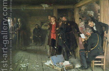 The Arrest of the Propagandist, 1880-89 by Ilya Efimovich Efimovich Repin - Reproduction Oil Painting