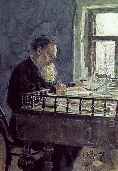 Lev Tolstoy (1828-1910) at work, 1893 by Ilya Efimovich Efimovich Repin - Reproduction Oil Painting