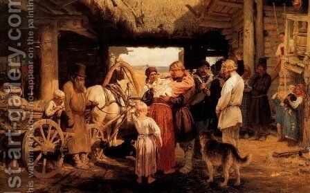 The Leave-Taking of the New Recruit, 1879 by Ilya Efimovich Efimovich Repin - Reproduction Oil Painting