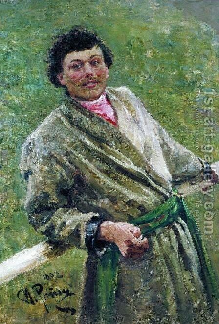 The Byelorussian, portrait of the peasant S. Shavrov, 1892 by Ilya Efimovich Efimovich Repin - Reproduction Oil Painting