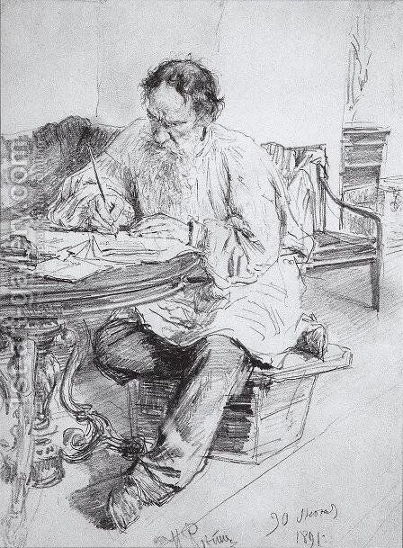 Lev Nikolaevich Tolstoy (1828-1910) at Work, 1891 by Ilya Efimovich Efimovich Repin - Reproduction Oil Painting
