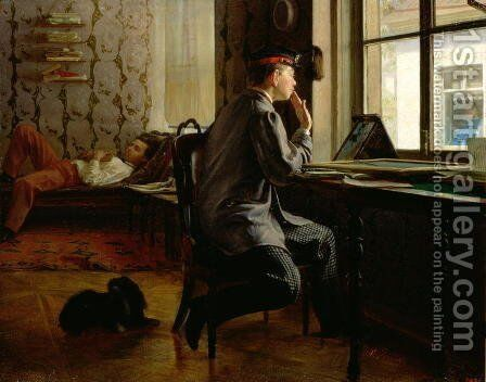 Preparing for Examinations, 1864 by Ilya Efimovich Efimovich Repin - Reproduction Oil Painting