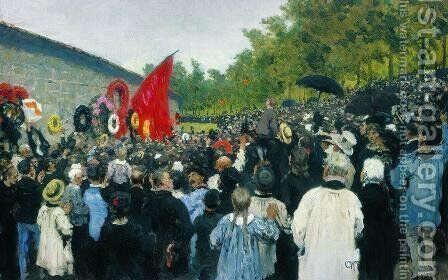 Meeting at the Mur des Federes - Pere Lachaise, 1883 by Ilya Efimovich Efimovich Repin - Reproduction Oil Painting