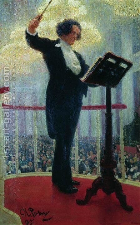 Portrait of the Russian Composer Anton Grigoryevich Rubinstein (1829-1894) 1915 by Ilya Efimovich Efimovich Repin - Reproduction Oil Painting