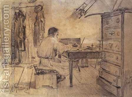 Lev Tolstoy (1818-1910) in his Study, 1891 by Ilya Efimovich Efimovich Repin - Reproduction Oil Painting
