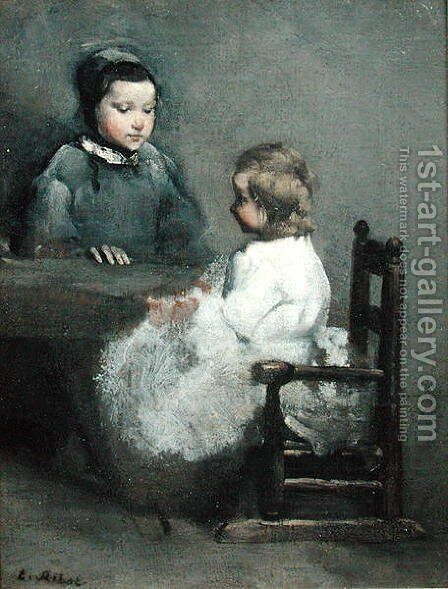 The Two Sisters by Theodule Augustine Ribot - Reproduction Oil Painting