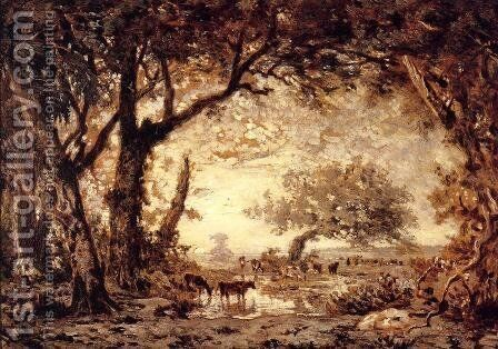 The Edge of the Forest at Fontainebleau, Setting Sun, 1850-51 by Theodore Rousseau - Reproduction Oil Painting