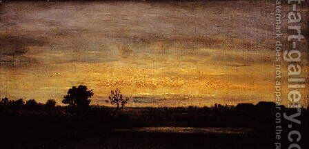 Dusk in Sologne by Theodore Rousseau - Reproduction Oil Painting