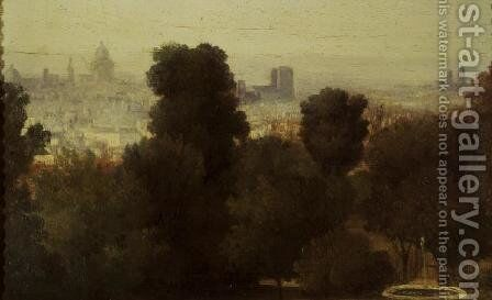 Paris seen from the Heights of Belleville, c.1830 by Theodore Rousseau - Reproduction Oil Painting
