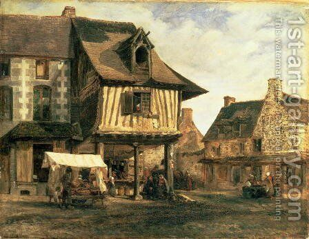 Market Place in Normandy, c.1832 by Theodore Rousseau - Reproduction Oil Painting