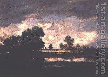 The Pool with a Stormy Sky, c.1865-7 by Theodore Rousseau - Reproduction Oil Painting