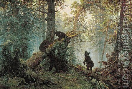 Shishkin's landscape Morning in the Pine Forest (1886) by Konstantin Apollonovich Savitsky - Reproduction Oil Painting