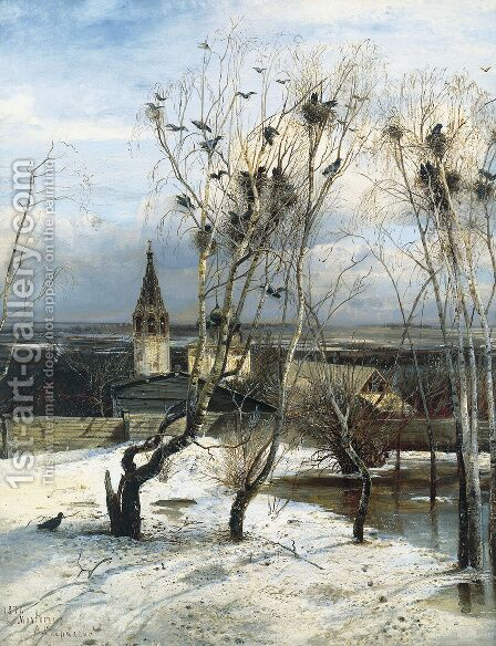 The Rooks have Returned, 1871 by Alexei Kondratyevich Savrasov - Reproduction Oil Painting