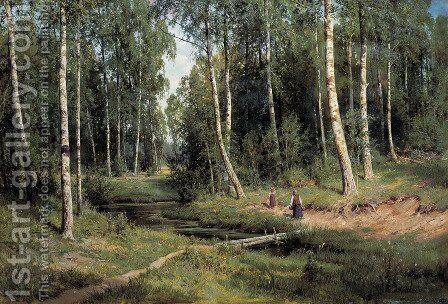 In The Birch Tree Forest, 1883 by Ivan Shishkin - Reproduction Oil Painting