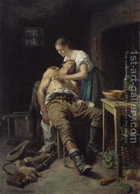 The Wounded Poacher, 1881 by Henry Jones Thaddeus - Reproduction Oil Painting