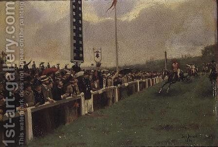 The Course at Longchamps, 1886 by Jean-Georges Beraud - Reproduction Oil Painting