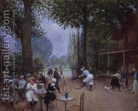 The Chalet du Cycle in the Bois de Boulogne, c.1900 by Jean-Georges Beraud - Reproduction Oil Painting