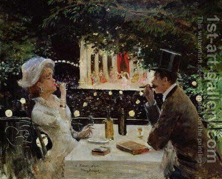 Dinner at Les Ambassadeurs, c.1882 by Jean-Georges Beraud - Reproduction Oil Painting