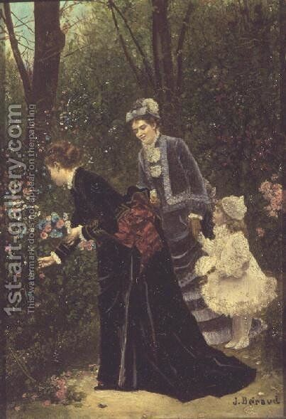 Young Women Picking Flowers, 1885 by Jean-Georges Beraud - Reproduction Oil Painting
