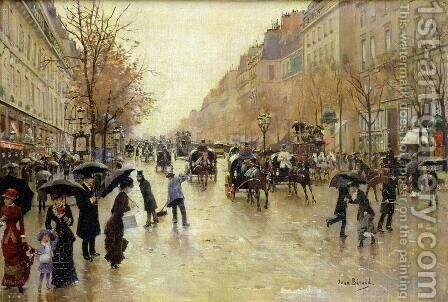 Boulevard Poissonniere in the Rain, c.1885 by Jean-Georges Beraud - Reproduction Oil Painting