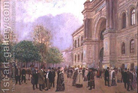 Outside the Palais de l'Industrie by Jean-Georges Beraud - Reproduction Oil Painting