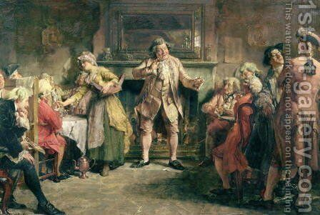 The Coffee House Orator by Edgar Bundy - Reproduction Oil Painting