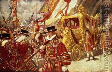 Progress in State- The Royal State Coach by Edgar Bundy - Reproduction Oil Painting
