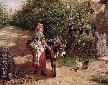Home from Market by Edgar Bundy - Reproduction Oil Painting