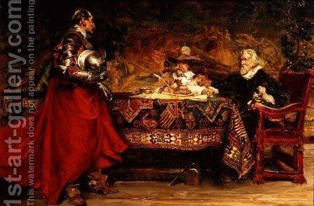 News of the Battle by Edgar Bundy - Reproduction Oil Painting