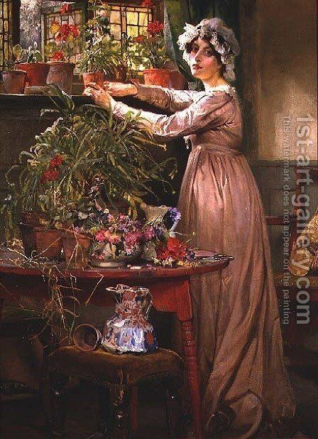 Arranging Flowers by Edgar Bundy - Reproduction Oil Painting
