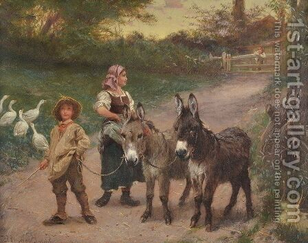 Peasant Children with Donkeys by Edgar Bundy - Reproduction Oil Painting