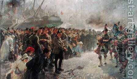 Landing of the First Canadian Division at St. Nazaire, 1915 by Edgar Bundy - Reproduction Oil Painting
