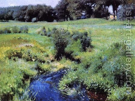 The Pool, Medfield, 1889. by Dennis Miller Bunker - Reproduction Oil Painting