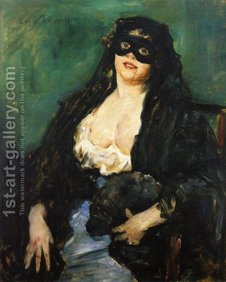 The Black Mask by Lovis (Franz Heinrich Louis) Corinth - Reproduction Oil Painting