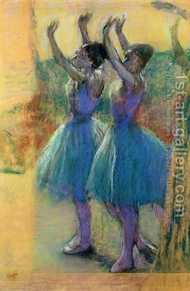 Two Blue Dancers by Edgar Degas - Reproduction Oil Painting