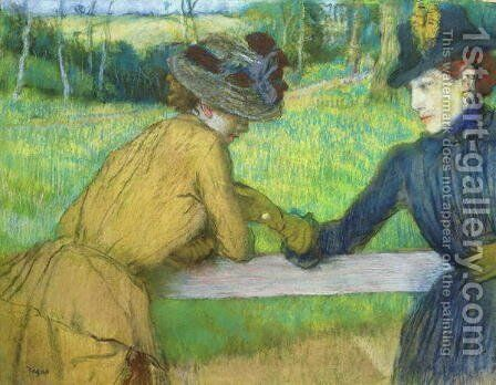 Two women leaning on a gate by Edgar Degas - Reproduction Oil Painting