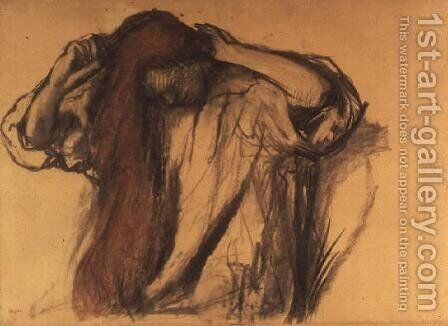 Woman combing her hair 2 by Edgar Degas - Reproduction Oil Painting