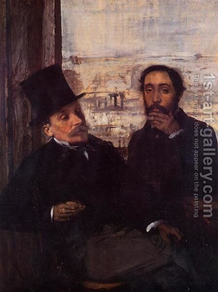 Self Portrait with Evariste de Valernes (1816-96) c.1865 by Edgar Degas - Reproduction Oil Painting