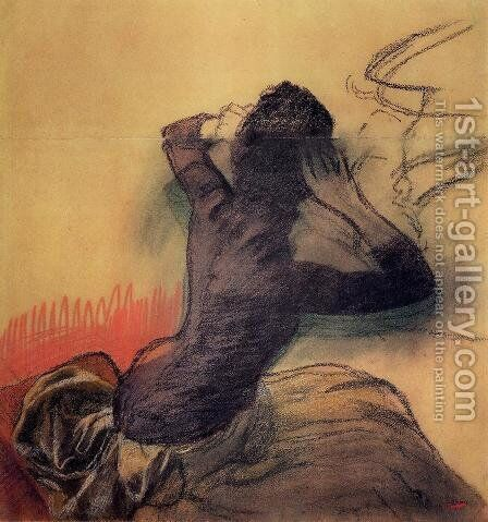 Seated Woman Adjusting Her Hair, c.1884 by Edgar Degas - Reproduction Oil Painting