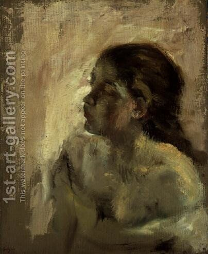 Study of a Girl's Head, late 1870s by Edgar Degas - Reproduction Oil Painting