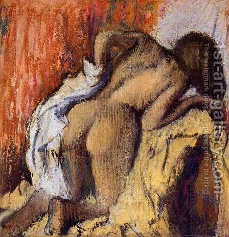 Woman Drying Herself, c.1890-95 by Edgar Degas - Reproduction Oil Painting