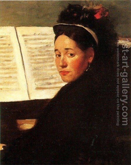 Mademoiselle Marie Dihau (1843-1935) at the piano, c.1869-72 by Edgar Degas - Reproduction Oil Painting