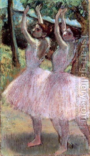 Dancers in violet dresses, arms raised, c.1900 by Edgar Degas - Reproduction Oil Painting