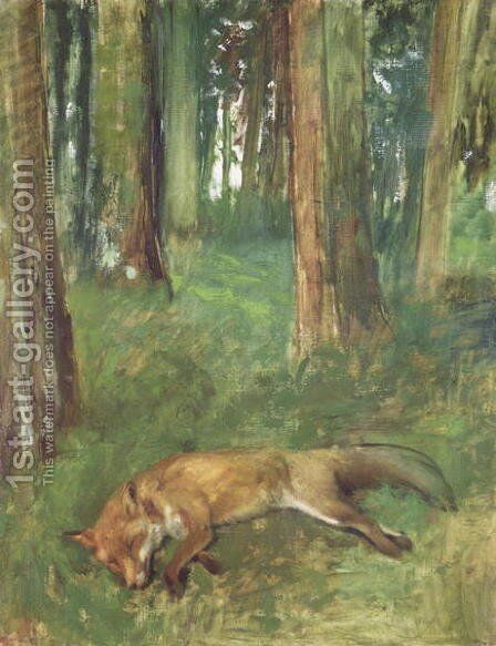 Dead fox lying in the Undergrowth, 1865 by Edgar Degas - Reproduction Oil Painting
