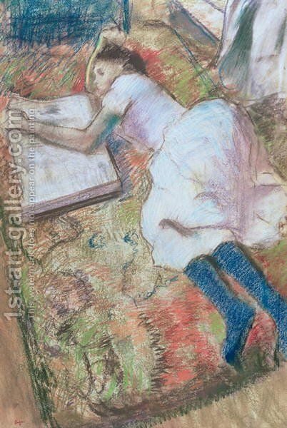 Young Girl Lying Down Looking at an Album, c.1889 by Edgar Degas - Reproduction Oil Painting