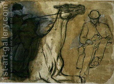Two studies of riders by Edgar Degas - Reproduction Oil Painting