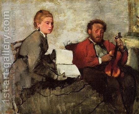 Violinist and Young Woman, c.1871 by Edgar Degas - Reproduction Oil Painting