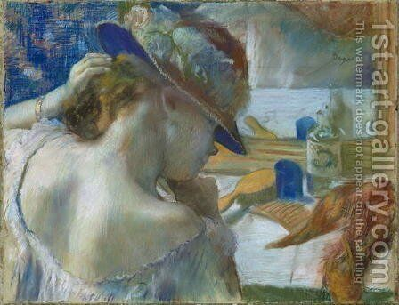 In Front of the Mirror, 1889 by Edgar Degas - Reproduction Oil Painting
