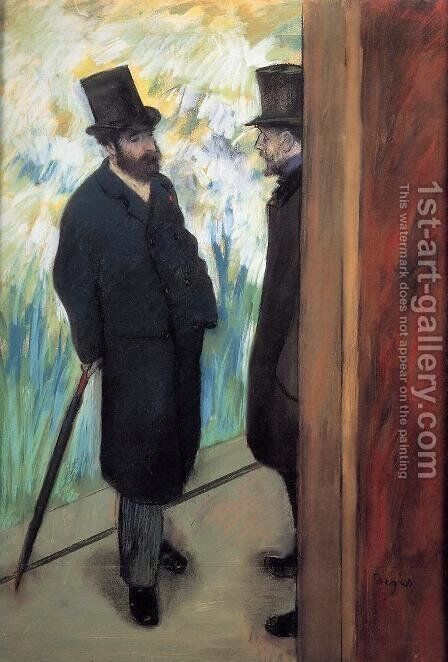 Friends at the Theatre, Ludovic Halevy (1834-1908) and Albert Cave (1832-1910) 1878-79 by Edgar Degas - Reproduction Oil Painting