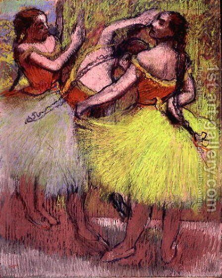Dancers with Hair in Braids by Edgar Degas - Reproduction Oil Painting